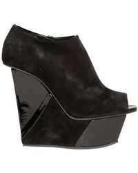 Diego Dolcini - 140mm Suede and Patent Open Toe Wedges - Lyst
