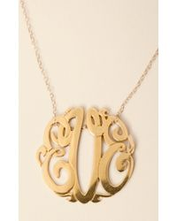 Soixante Neuf 14k Gold Monogram Necklace - Lyst