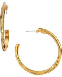 Kenneth Jay Lane Twisted Golden Hoop Earrings - Lyst