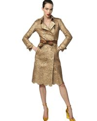 Burberry Prorsum Laser Cut Leather Trench Coat gold - Lyst