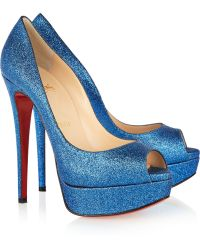 Christian Louboutin Lady Peep 150 Glitter Finish Pumps blue - Lyst
