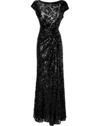 Elie Saab Black Draped Sequined Gown - Lyst