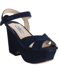Prada Square Toe Wedge Sandal blue - Lyst