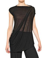 Rick Owens Viscose Cotton Jersey Top - Lyst