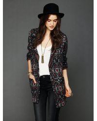 Free People Patterned Sweater Blazer black - Lyst
