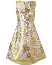 OSMAN Floral Brocade Dress gold - Lyst