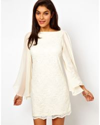ASOS Collection Asos Lace Shift Dress with Chiffon Sleeve - Lyst