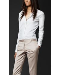 Burberry Prorsum Stretch Cotton Fitted Shirt - Lyst