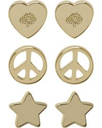 Mulberry Love and Peace Stud Earrings gold - Lyst