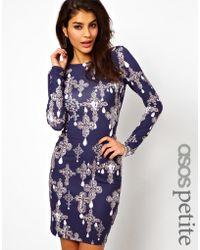 Asos Bodyconscious Dress in Cross Print - Lyst