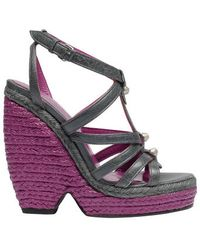 Balenciaga Wedge Espadrille Shoes - Lyst