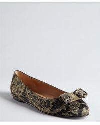 Ferragamo Black and Gold Satin Lace Bow Tarita Flats - Lyst