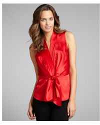 Lafayette 148 New York Rouge Silk Satin Camilla Pleated Vneck Sleeveless Blouse - Lyst
