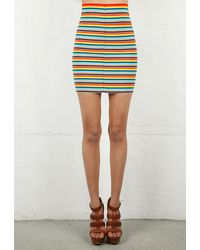 Pleasure Doing Business 11 Band Striped Skirt with Exposed Zipper - Lyst