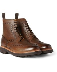 Grenson Fred Texturedleather Brogue Boots - Lyst
