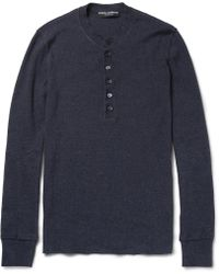 Dolce & Gabbana Long Sleeved Ribbed Cotton Henley Tshirt - Lyst