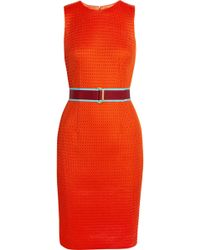Jonathan Saunders Aude Belted Mesh Dress - Lyst