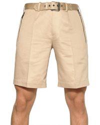Belstaff Cotton and Linen Blend Bermuda Shorts beige - Lyst