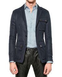 Belstaff Linen and Cotton Blend Jacket blue - Lyst