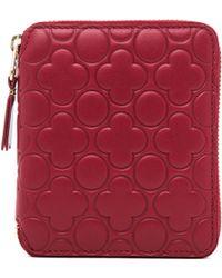 Comme des Garçons Clover Embossed Zip Fold Wallet in Red - Lyst