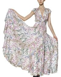 Issa Printed Silk Crepe De Chine Long Dress - Lyst