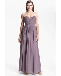 Donna Morgan 'Laura' Ruched Sweetheart Silk Chiffon Gown - Lyst