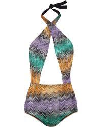 Missoni Metallic Crochetknit Onepiece - Lyst