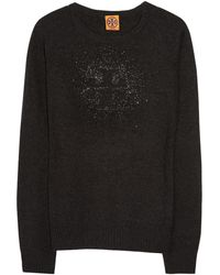 Tory Burch Crystalembellished Wool and Cashmereblend Sweater - Lyst