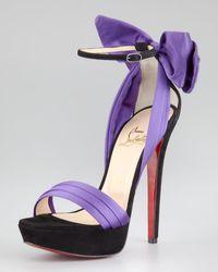 Christian Louboutin Vampanodo Satin Bow Red Sole Sandal purple - Lyst