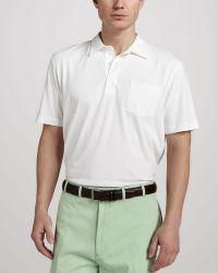 Peter Millar Satinwash Pocket Polo White - Lyst