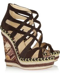 Christian Louboutin Tosca 140 Printed Twill And Suede Sandals brown - Lyst