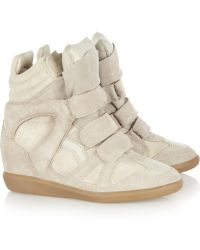 Isabel Marant Bekkett Suede and Leather Hightop Wedge Sneakers - Lyst