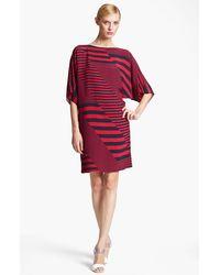 Michael Kors Stripe Print Marocain Dress red - Lyst