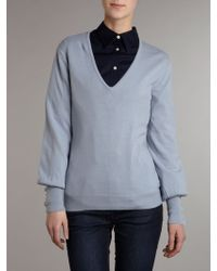 Lauren by Ralph Lauren - Silk Mix Jumper with Button Cuff Sleeves - Lyst