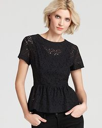 French Connection Top Mykas Lace Peplum - Lyst