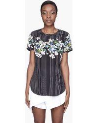 3.1 Phillip Lim Navy Floral Overlapping Silk Tshirt - Lyst