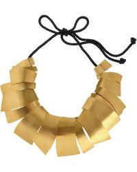 Herve Van Der Straeten - Hammered 24karat Goldplated Leaf Necklace - Lyst