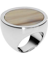 Michael Kors - Silvercolor Slice Ring with Horn Design Detail - Lyst