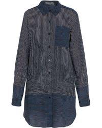 Proenza Schouler Silk Line Print Shirt Dress - Lyst