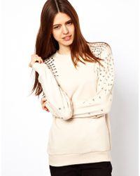 ASOS Collection | Sweatshirt with Stud Shouders | Lyst