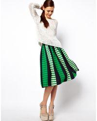 ASOS Collection | Midi Skirt in Stripe | Lyst