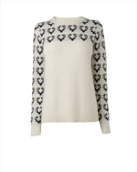 Jaeger Deer Intarsia Wool Mix Sweater - Lyst