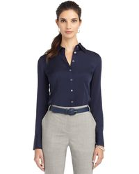 Brooks Brothers Petite Longsleeve Silk Shirt - Lyst