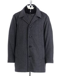 Calvin Klein Gray Twill Coat - Lyst