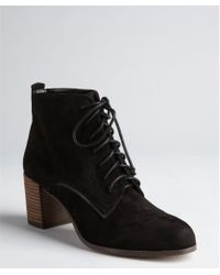 Dolce Vita Black Suede Hal Lace Up Ankle Boots - Lyst