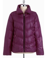 Guess Quilted Zip-front Down Coat - Lyst