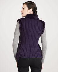 Jocelyn - Candy Knitback Zip Front Rabbit Fur Vest - Lyst