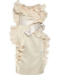 Lanvin Ruffled Satin Dress - Lyst