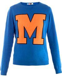 MSGM M Colourblock Sweater blue - Lyst