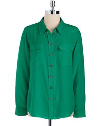 Vince Camuto Silk Button-Down Blouse - Lyst